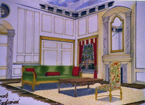 Rendering of Traditional 'Baroque' period room with drapery.