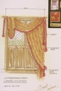 Rendering of a Tudor style interior window combined half shutters and heavy textured drapery with rope tie backs.
