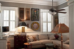 Living Room with traditional shutters