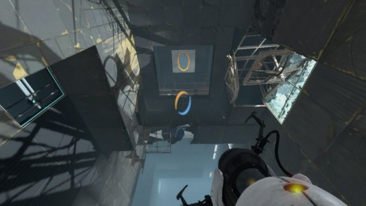 Once this ceiling is lowered, use the faith plate to launch yourself to the upper level with portals.
