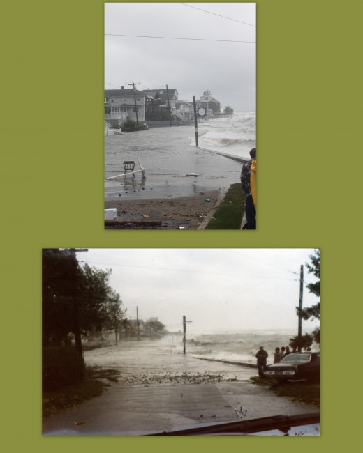 view of Point Beach in Milford, Ct in Gloria (bottom) and Irene (top)