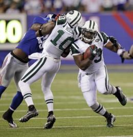 New York Jets' Shonn Greene and Santonio Homes