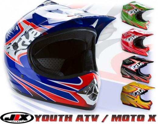 Kids red silver flame off road atv motocross mx dirt bike helmet s