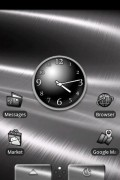 """DxTop, showing off one of its themes, and the """"app drawer / task drawer"""" dock."""