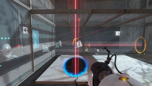 Placing portals and standing on the button to clear out the first trio of turrets to get access to the pair of cubes.