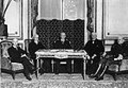 Woodrow Wilson and the American peace commissioners during the negotiations on the Treaty of Versailles.