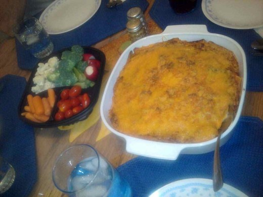 Mexican casserole served with a side of vegetables makes a complete meal loved by everyone!
