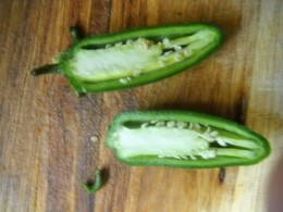 Inside a Jalapeno pepper cut lengthwise