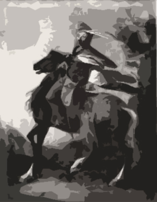 "Terrek riding ""Streak"" his horse through Victory City."