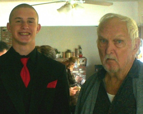My oldest, Joseph and my dad in February of last year before Winter Formals