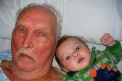 My Dad with his youngest grandchild, my nephew Aidan William Burton Burns, while Dad was in the hospital, December 2010