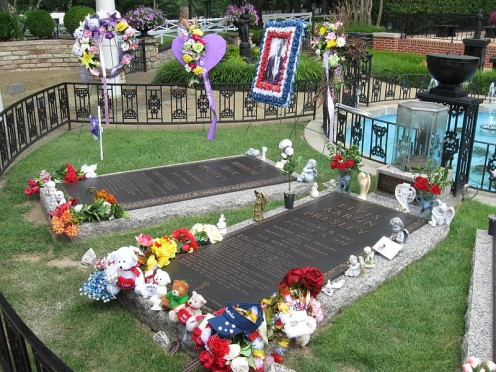 Grave sites of Elvis, Vernon, and Gladys Presley, Elvis's grandmother, and a memorial marker for twin Jesse Garon Presley.