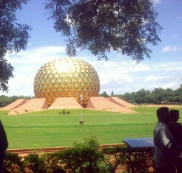 A view of Matrimandir, Auroville, Pondicherry