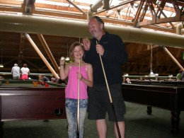 Chris and Lyndsey enjoying a game of pool.