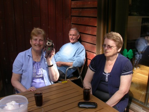 Mum, Dad and Aunt Catherine chilling in the garden.