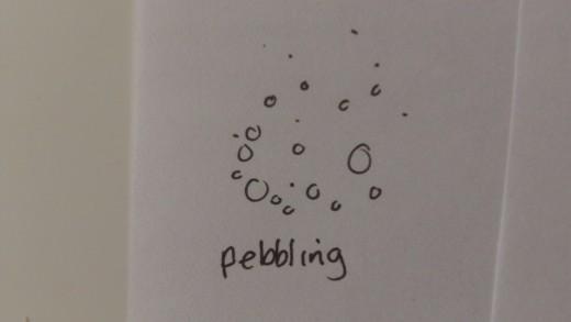 Pebbling ink technique.