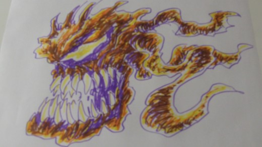 Crayola Supertips quick sketch of a creature.