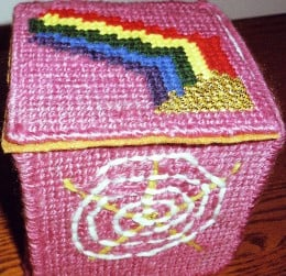 Treasure box made for my mother, with plastic canvas and yarn