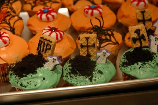 Prepare some really colorful spooky cupcakes to offset the eerie feeling :)