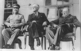 The Big 3 at the Tehran Conference. From left to right, Stalin (Russia), Wilson (America), Churchill (Britain)