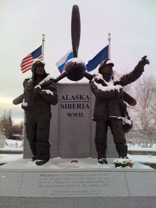 Memorial in Alaksa to the American Lend-Lease programme to the USSR
