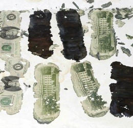 The $20 bill remnants found by eight year old Brian Ingrams