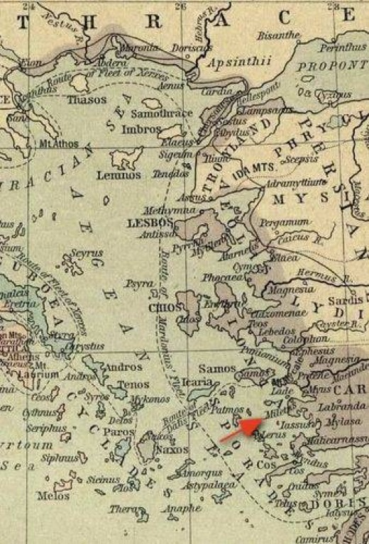 Miletus from a map of Greek and Phoenician Settlements in the Mediterranean Basin. Perry-Castaeda Library Historical Atlas by William R. Shepherd