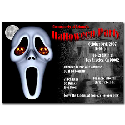 Click the photo to see more printable Halloween party invitation cards.