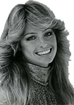 Farrah Fawcett made the feathered look of the fashion hair stamp of the 70's