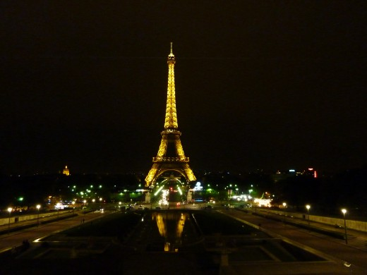 The Eiffel Tower at night, seen from Trocadro
