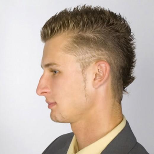 Short spikey hair.
