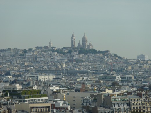 Montmartre with the Sacr-Coeur seen from the Eiffel Tower
