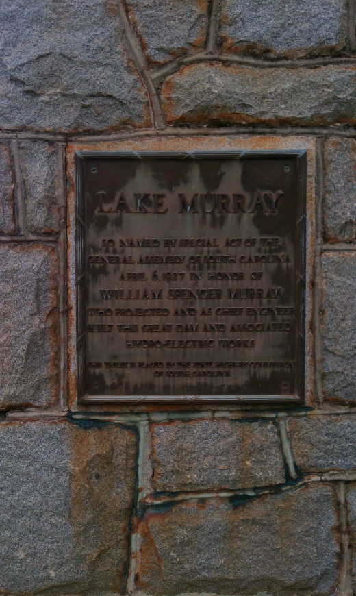 plaque commemorating construction of old dam