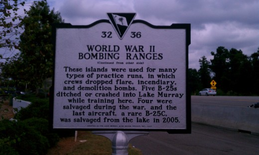 historic marker about the use of the lake islands for practice bombing runs of B25s during WWII