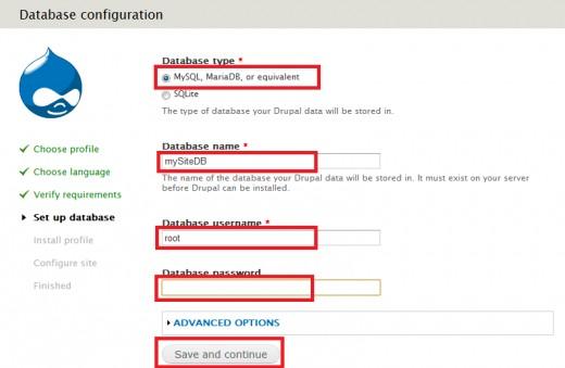 Install Drupal - Setup Database