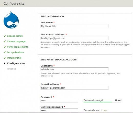 Install Drupal - Configure Site