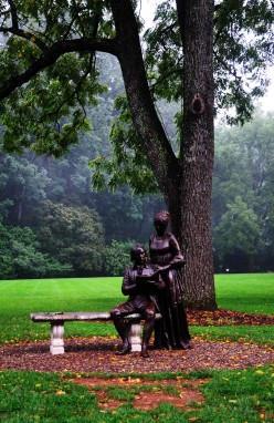 Statue of the Madisons in the backyard
