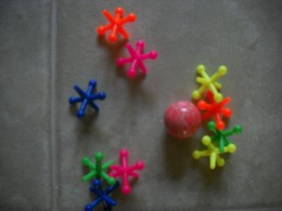 New larger plastic jacks and rubber bouncy ball