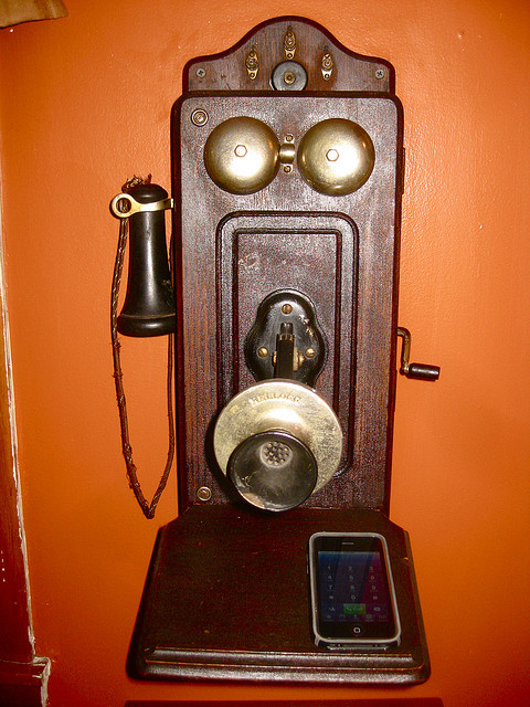 A Juxtapositon of Phones - Note: You know you're getting old when... you do a search on 'older phone' and it brings up a rotary dial phone instead of this!