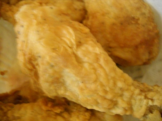 Close up of fried chicken drumstick