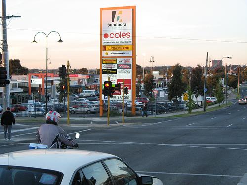 Bundoora Square as seen form the traffic lights on Plenty Road in Bundoora, Melbourne