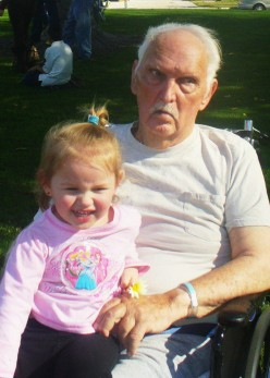 My youngest daughter Jami with my dad on an outing to the park during an extended hospital stay in January of 2011