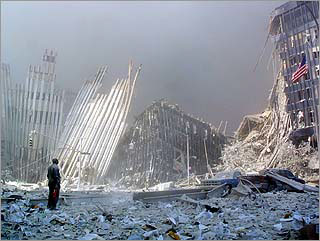 Collapsed buildings at the Trade Center