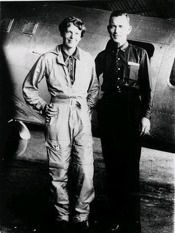 Amelia Earhart and her Navigator Fred Noonan in 1937