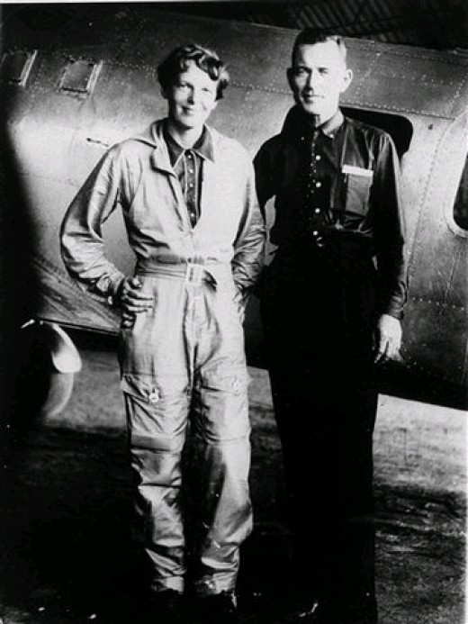 Amelia Earhart and her Navigator Fred Noonan in 1937