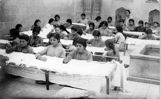 Orphan girls at the Aleppo Armenian orphanage 1923