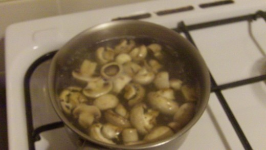 Mushrooms boiling nicely!