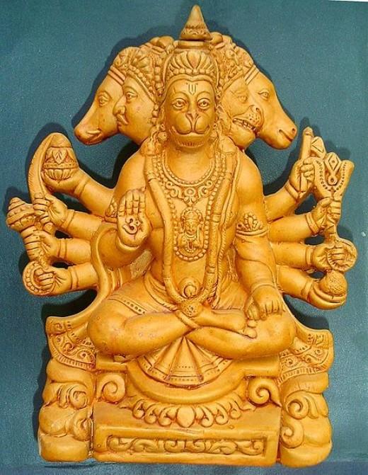 A terracotta sculpture of Panchamukha Hanuman