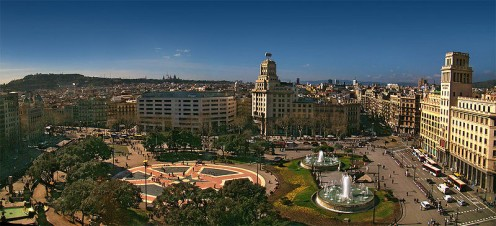 Placa Catalunya the center of the historical section of Barcelona
