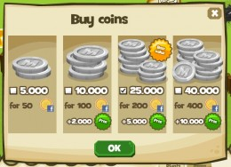 Additional coins can be purchased